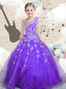 Cute Lilac Pageant Gowns For Girls Party and Wedding Party with Beading and Appliques and Hand Made Flower Asymmetric Sleeveless Lace Up