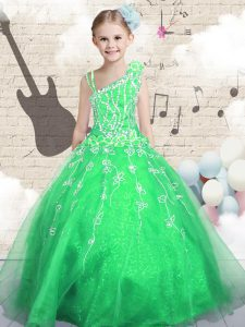 Elegant Green Lace Up Kids Pageant Dress Beading and Appliques and Hand Made Flower Sleeveless Floor Length
