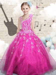 Eye-catching Floor Length Lace Up Pageant Gowns For Girls Hot Pink for Party and Wedding Party with Beading
