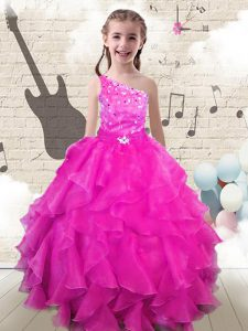 One Shoulder Hot Pink Sleeveless Floor Length Beading and Ruffles Lace Up Child Pageant Dress