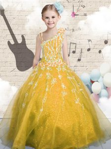 Asymmetric Sleeveless Child Pageant Dress Floor Length Appliques Orange Tulle