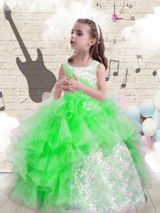 Stunning Sleeveless Lace Up Floor Length Beading and Ruffles Little Girls Pageant Dress Wholesale