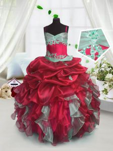Great Organza Sleeveless Floor Length Girls Pageant Dresses and Beading and Ruffles