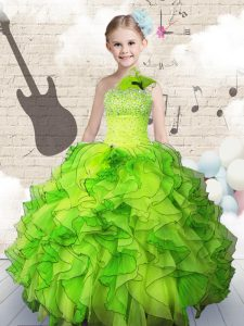 Classical Ball Gowns One Shoulder Sleeveless Organza Floor Length Lace Up Beading and Ruffles Little Girls Pageant Gowns