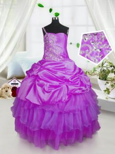 Custom Made One Shoulder Lavender Sleeveless Floor Length Beading and Ruffled Layers and Pick Ups Lace Up Little Girl Pageant Gowns
