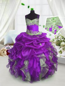 Classical Floor Length Lace Up Little Girl Pageant Dress Lavender for Party and Wedding Party with Beading and Ruffles and Pick Ups