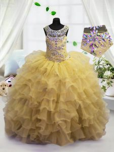 Scoop Sleeveless Beading and Ruffled Layers Lace Up Pageant Gowns For Girls