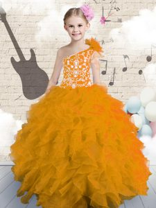 One Shoulder Orange Sleeveless Organza Lace Up Pageant Gowns For Girls for Party and Wedding Party