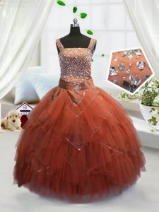 Straps Sleeveless Tulle Pageant Gowns For Girls Beading and Ruffles Lace Up