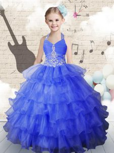 Unique Royal Blue Child Pageant Dress Party and Wedding Party with Beading and Ruffled Layers Halter Top Sleeveless Lace Up
