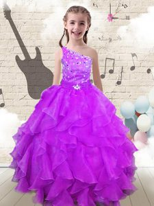 One Shoulder Sleeveless Floor Length Beading and Ruffles Lace Up Little Girl Pageant Gowns with Fuchsia