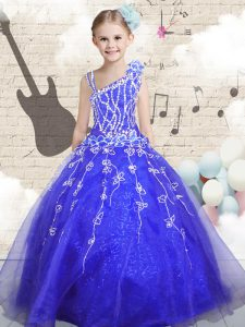 Excellent Organza Sleeveless Floor Length Little Girls Pageant Gowns and Beading and Appliques and Hand Made Flower