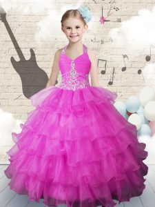 Low Price Halter Top Sleeveless Floor Length Beading and Ruffled Layers Lace Up Kids Formal Wear with Fuchsia
