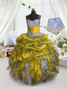 Cheap Pick Ups Spaghetti Straps Sleeveless Lace Up Little Girls Pageant Gowns Gold Organza