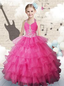 Popular Halter Top Sleeveless Beading and Ruffled Layers Lace Up Kids Pageant Dress