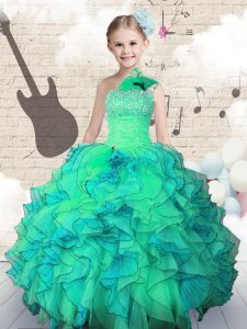 One Shoulder Turquoise Sleeveless Organza Lace Up Little Girl Pageant Dress for Party and Wedding Party