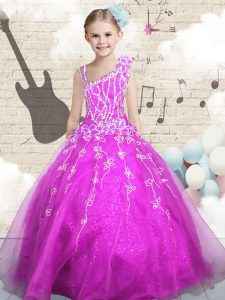 Fuchsia Sleeveless Beading and Appliques and Hand Made Flower Floor Length Little Girls Pageant Gowns