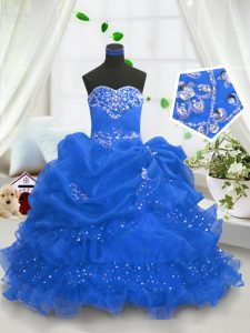 Affordable Blue Sleeveless Beading and Ruffled Layers and Pick Ups Floor Length Pageant Gowns For Girls