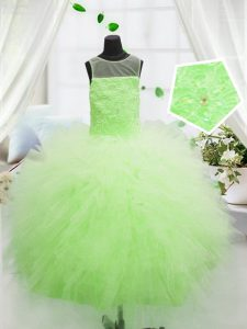 Sweet Yellow Green Scoop Zipper Beading and Appliques Girls Pageant Dresses Sleeveless