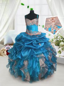 Most Popular Baby Blue Lace Up Pageant Gowns For Girls Beading and Ruffles and Pick Ups Sleeveless Floor Length