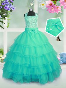 Fancy Turquoise Lace Up Little Girl Pageant Gowns Beading and Ruffled Layers Sleeveless Floor Length
