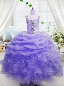 Glorious Sleeveless Beading and Ruffles and Pick Ups Zipper Little Girls Pageant Dress