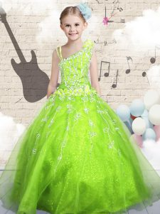 Ball Gowns Pageant Gowns For Girls Apple Green Asymmetric Organza Sleeveless Floor Length Lace Up