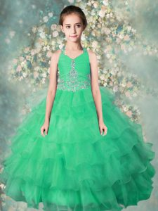 Halter Top Teal Zipper Child Pageant Dress Beading and Ruffles Sleeveless Floor Length