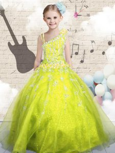 Floor Length Yellow Green Little Girls Pageant Dress Asymmetric Sleeveless Lace Up