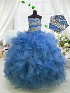 Sweetheart Sleeveless Little Girls Pageant Dress Wholesale Floor Length Beading and Ruffles Blue Organza