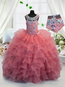 Scoop Sleeveless Little Girls Pageant Dress Floor Length Beading and Ruffled Layers Coral Red Organza