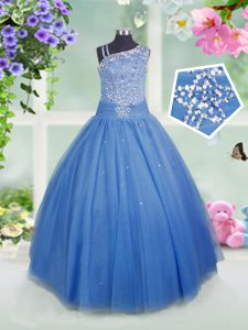 Floor Length Baby Blue Kids Pageant Dress Asymmetric Sleeveless Side Zipper