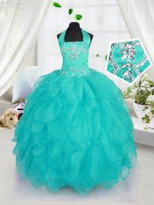 Aqua Blue Girls Pageant Dresses Military Ball and Sweet 16 and Quinceanera with Beading Halter Top Sleeveless Lace Up