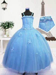 Baby Blue Little Girls Pageant Dress Party and Wedding Party with Beading and Appliques Spaghetti Straps Sleeveless Zipper