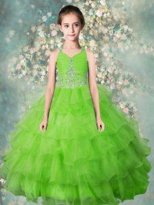 Halter Top Apple Green Zipper Little Girls Pageant Dress Beading and Ruffled Layers Sleeveless Floor Length