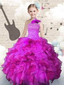 Fashionable One Shoulder Sleeveless Lace Up Little Girls Pageant Gowns Fuchsia Organza