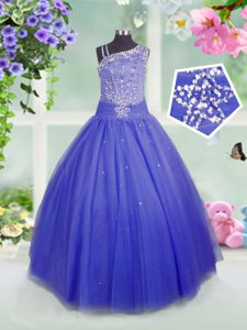 Floor Length Ball Gowns Sleeveless Blue Pageant Gowns For Girls Side Zipper