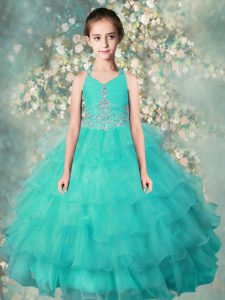 Turquoise Ball Gowns Halter Top Sleeveless Organza Floor Length Zipper Beading and Ruffled Layers Child Pageant Dress