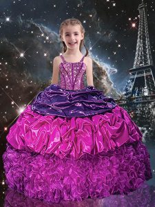 Stylish Purple Ball Gowns Beading and Ruffles and Pick Ups Little Girls Pageant Dress Wholesale Lace Up Organza Sleeveless Floor Length