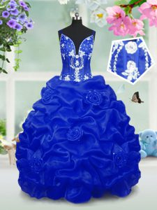 Affordable Royal Blue Ball Gowns Taffeta V-neck Sleeveless Beading and Pick Ups Floor Length Lace Up Little Girl Pageant Dress