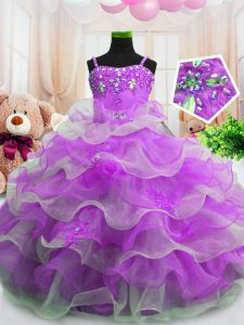 Purple Pageant Gowns For Girls Party and Wedding Party with Beading and Ruffled Layers Spaghetti Straps Sleeveless Zipper