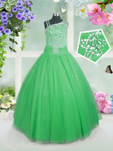 Most Popular Floor Length Green Little Girls Pageant Dress Tulle Sleeveless Beading