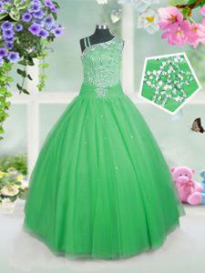Most Popular Floor Length Green Little Girls Pageant Dress Tulle Sleeveless Beading