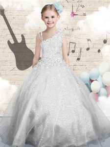 Silver Ball Gowns Beading and Appliques and Hand Made Flower Girls Pageant Dresses Lace Up Organza Sleeveless Floor Length