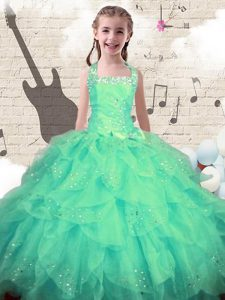 Latest Halter Top Turquoise Lace Up Girls Pageant Dresses Beading and Ruffles Sleeveless Floor Length