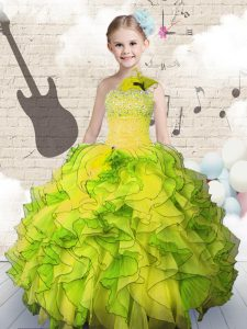 Excellent Floor Length Ball Gowns Sleeveless Yellow Green Little Girl Pageant Gowns Lace Up