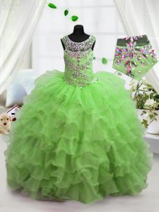 Fashionable Scoop Ruffled Floor Length Ball Gowns Sleeveless Little Girls Pageant Gowns Lace Up
