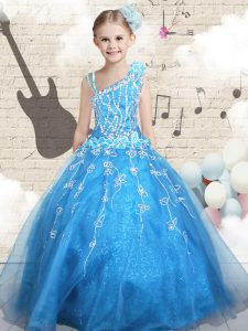 Sleeveless Appliques Lace Up Child Pageant Dress