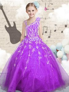 Customized Purple Ball Gowns Organza Asymmetric Sleeveless Beading and Appliques and Hand Made Flower Floor Length Lace Up Kids Pageant Dress