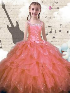 Fashionable Halter Top Floor Length Lace Up Pageant Gowns For Girls Pink for Party and Wedding Party with Beading and Ruffles